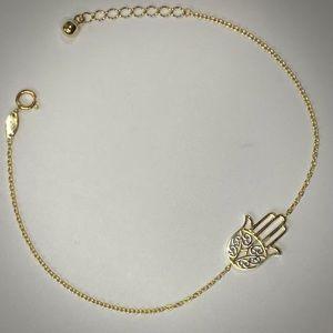 Solid 14K Gold Evil Eye Hand Hamsa Bracelet